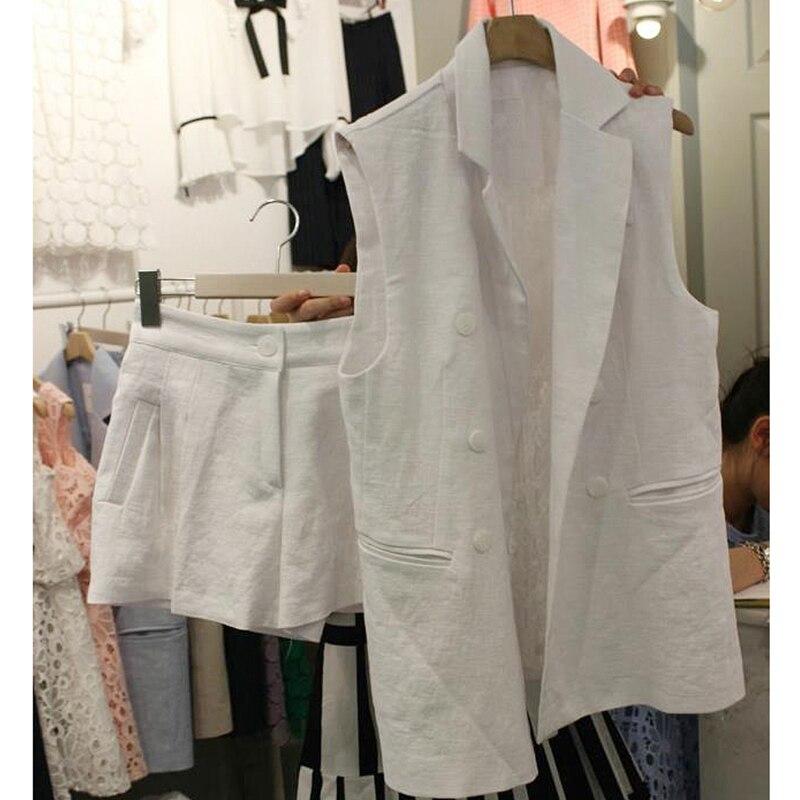 Style Lin Shorts Occasionnel Nouveau Mode Et Lâche Femmes 4 3 Gilet Coton De Deux Manteau Costume Marée 2 1 pg8HxH