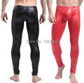Nuevo Rojo Negro y Brillante de Los Hombres Stretch Faux Pantalones de Cuero Sexy, Sexy & Novelty Flaco Medias Musculares Mens Low Polainas de la cintura