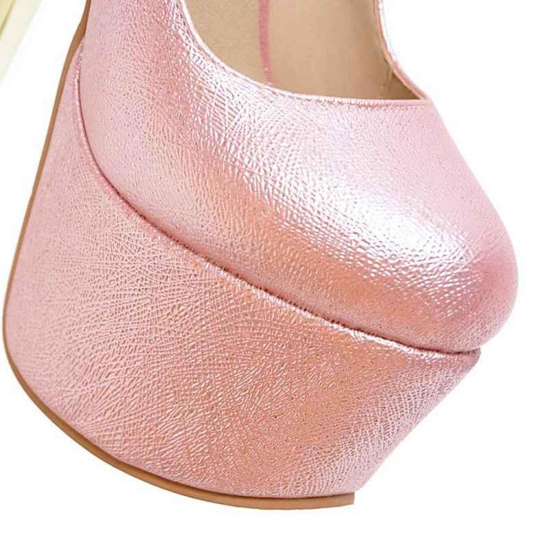 QPLYXCO 2017 sıcak satış Büyük boy 30-48 seksi moda süper ince yüksek topuklu (16 cm) ayakkabı platformu kadın ayakkabısı pompaları parti Y-28