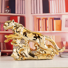 ceramic Gilded Leopard home decor crafts room decoration ceramic handicraft ornament porcelain animal figurines decorations цена и фото