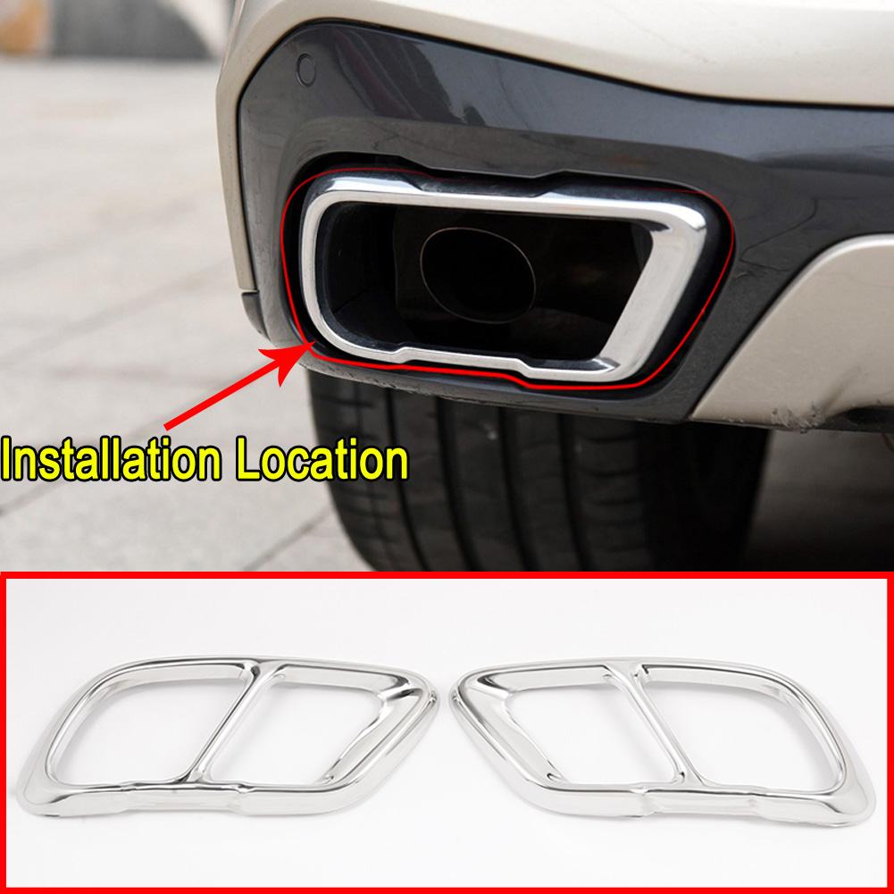New 2pcs Silver Color Stainless Steel Tailpipe Exhaust Muffler Rear Tail Pipe Tip Cover Trim Custom Fit For BMW X1 2016 2017 2018