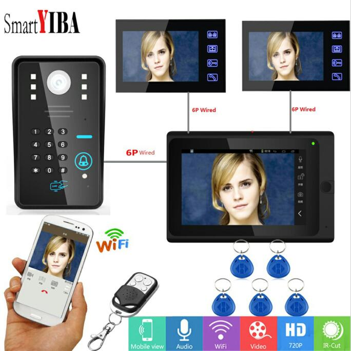 SmartYIBA APP Wifi Video Door Phone 7Monitor IR-CUT NightVision Camera ID Card Remote Unlock Visual Audio Video Door Intercom ...