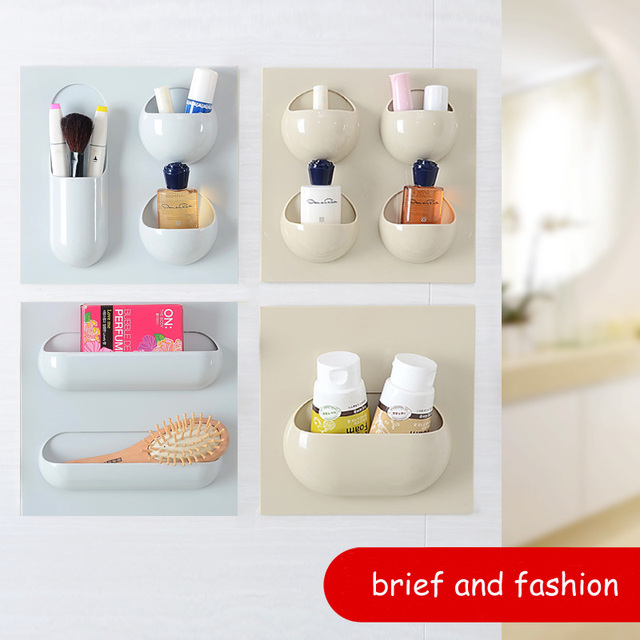 Incroyable Bathroom Storage Rack Self Adhesive Storage Wall Hanging Kitchen Organizer  Container Holder Shower Home Office Key