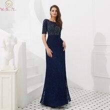 2019 Navy Blue Evening Dresses O-Neck Short Sleeves Mermaid Party Long Gowns Luxury Handmade Beading Lace Formal Vestido De Gala