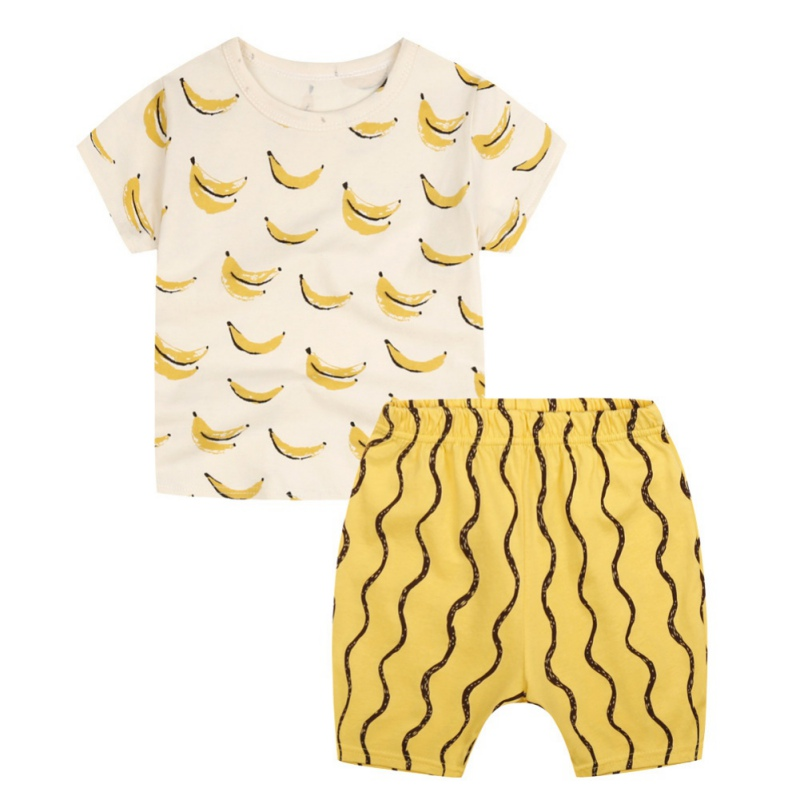 Cute Boys Clothing Set Cotton Kids Clothes Summer Children Clothing Set for Boys Sport Suits Banana Pattern T-shirts + Shorts