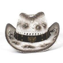 Los hombres de las mujeres de paja hueco Sombrero de vaquero occidental con  correa de la manera occidental palabra Cowgirl Jazz . 9f1f80e6a1a