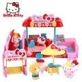 Новый Hello Kitty Развивающие Детские Игрушки Дом Пластиковые Миниатюрный Кукольный Домик Мой Дом Сказка-Вагон-ресторан Девушки Игрушки Подарок casa de boneca