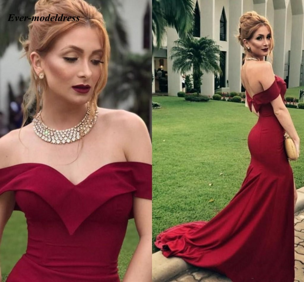 Dark Red   Prom     Dresses   Mermaid Off Shoulder Open Back Sweep Train Formal Party Gowns Evening   Dress   vestido de festa longo Cheap