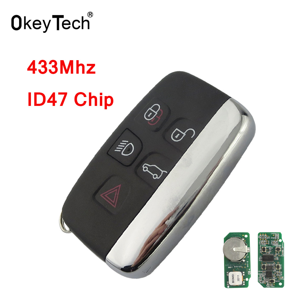 OkeyTech 433Mhz ID47 Chip 5 Buttons Auto Car Remote Smart Key Card for Land Rover LR4 Sport Evoque Freelander Luxury 2010-2015