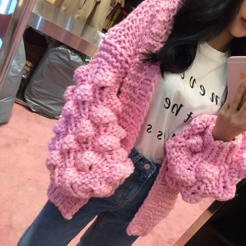 Spot les blogueurs aiment facile paresseux chandail cardigan femelle pur manuel balle tricot grossier lanterne manches manteau