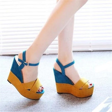 summer new style sandals thick bottom wedge fish mouth shoes fashion color matching super high with Roman shoes women's shoes 15 cm glass slipper super stilettos roman shoes soft face hollow out sandals fish mouth shoes taking pictures