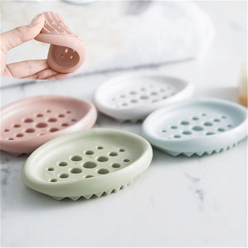 Pokich Silica Gel Hollowed Home Traveling Drain Toilet Lid Bathroom Case Double Soap Holder Storage Soap Box Wash Soap Dish Home