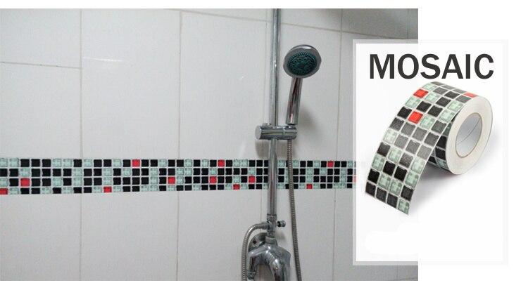 Mosaic Wall Stickers Waist Wallpaper Paste Waterproof Bathroom Tile Adhesive  Stickers Pvc Stickers Kitchen Wall Stickers In Wall Stickers From Home U0026  Garden ...