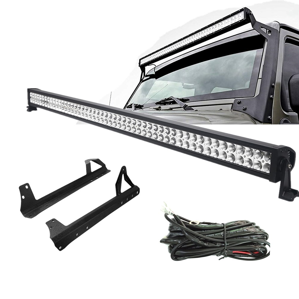 Car Accessories 52 300W Double Row LED Work Light Bar for Jeep Wrangler TJ 97 06 With Mounting Brackets Free Wire Harness