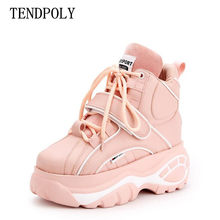 New women's boots Super fire fashion high-top Height increasing casual women Booties autumn winter thick-soled Female sneakers(China)
