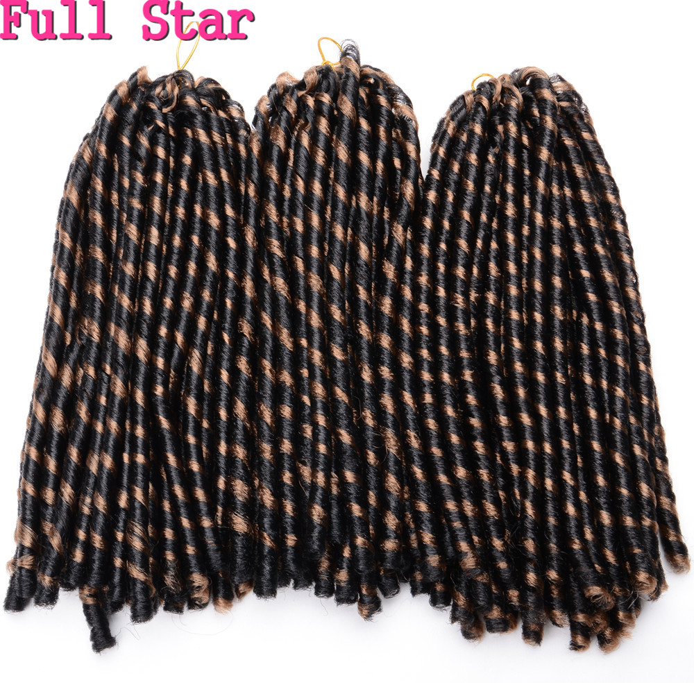 "Full Star 14"" 70g Soft Crochet Braids Dreadlock 9packs Unfold 30 root black bug Synthetic Hair Extensions Black Afro Kinky Bulk"