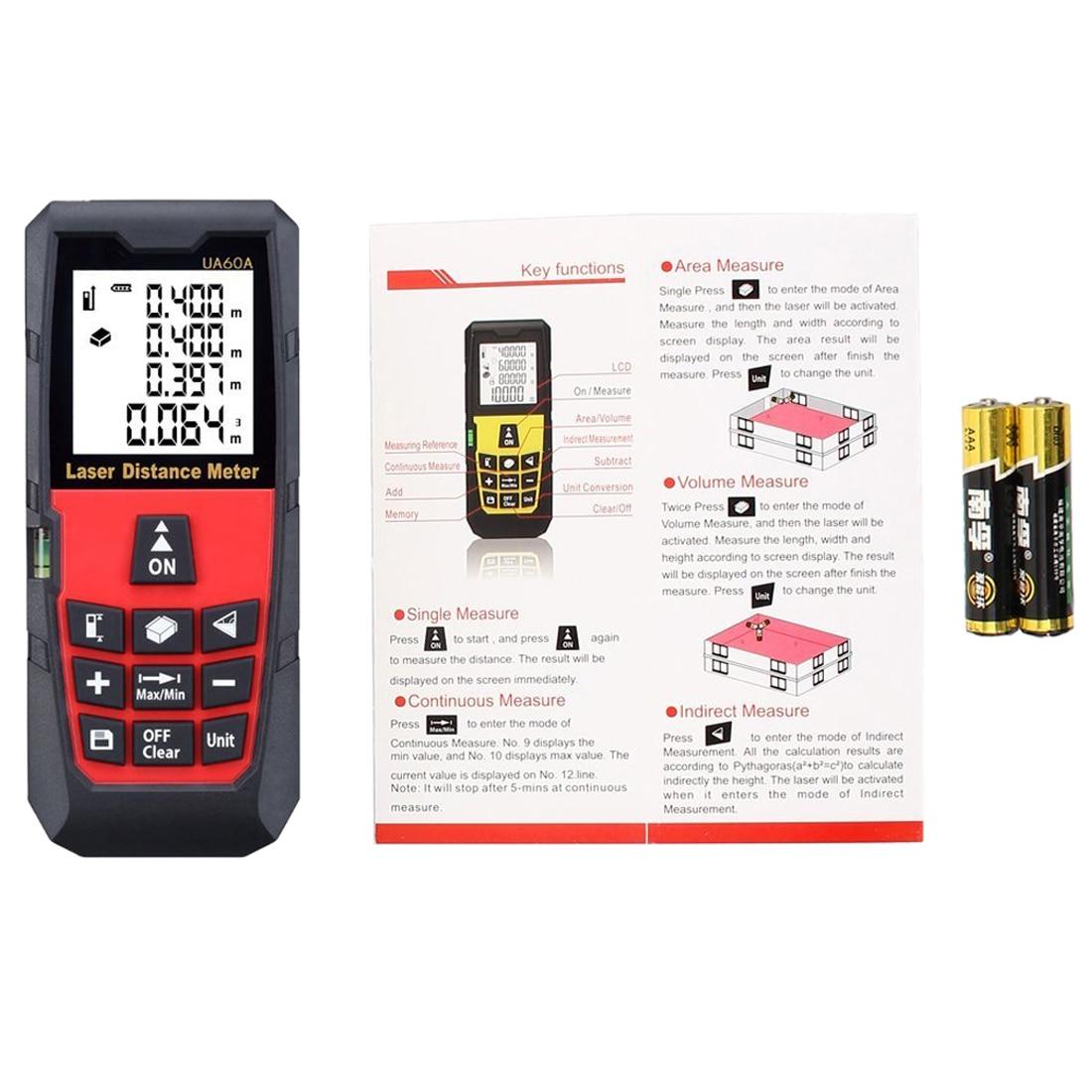 CNIM Hot UYIGAO 196 Feet / 60 Meter Digital Laser Distance Measure Rangefinder Meter Tape Diastimeter Large LCD with Backlight  цены