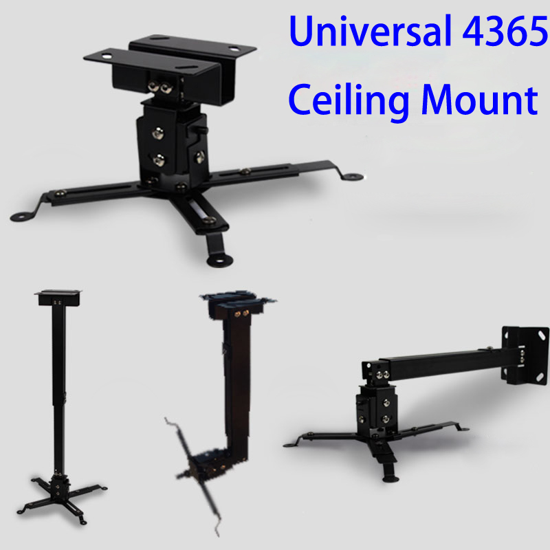 Black Color Projector Ceiling Mount Adjustable 43 To 65cm Roof Bracket For DLP LCD LED Beamer Wall Hanger