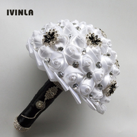 Hot Selling white artificial wedding brides bouquet with black crystal for wedding decoration