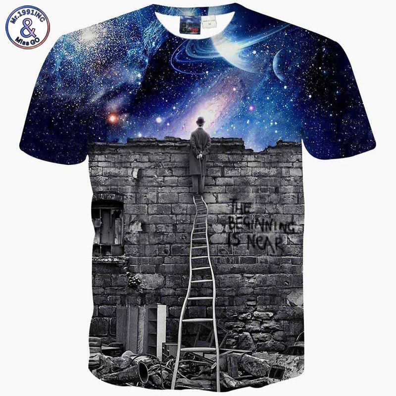 Mr.1991INC New Europe and American Men/boy T-shirt 3d fashion print A person watching meteor shower Space galaxy t shirt