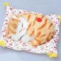 2016 Precioso Gatos Juguete Muñeca Animal de Peluche Para Dormir con el Sonido de Simulación Niños Regalo de Cumpleaños Del Juguete Adornos de Muñecas Juguetes De Peluche