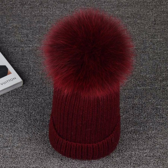 Winter Hat Real Mink Fur Colour Size 15CM Fox Pompom For Women Girl 's 100% Wool Knitted Cap Thick Female Cap  Skullies Beanies