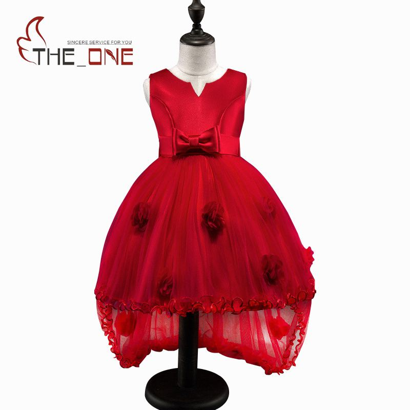 Girls Princess Party Dresses Children Flower Bow Floor Length Lace Tutu Dress Kids Girl Train Wedding Dress Costume Clothing children girl tutu dress super hero girl halloween costume kids summer tutu dress party photography girl clothing