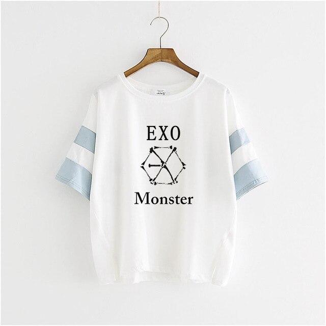 Kpop EXO tres series monstruo de manga corta T-camisa de vestir blusa masculina y alumnas de k-pop exo Camiseta k pop T-shirt