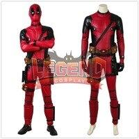 Movie Deadpool 2 Suit deadpool red jumpsuit cosplay costume gloves mask custom made