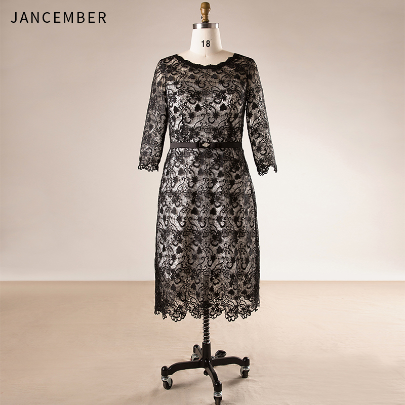 JANCEMBER Plus Size   Cocktail     Dresses   Three Quarter Sleeve Tea-Length Beach Cut-Out Pattern Applique Zipper Back vestidos coctel