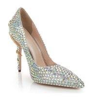 Женские туфли на высоком каблуке с острым носком, украшенные стразами, шикарные вечерние туфли со змеиным узором, элегантные свадебные туфл