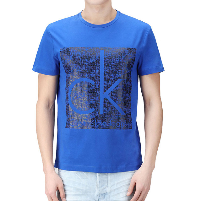 Calvin Klein Jeans / CK Men's Casual Short Sleeved T-shirt Round Neck Black Letter Logo Printing Comfortable Tops Tees J304036