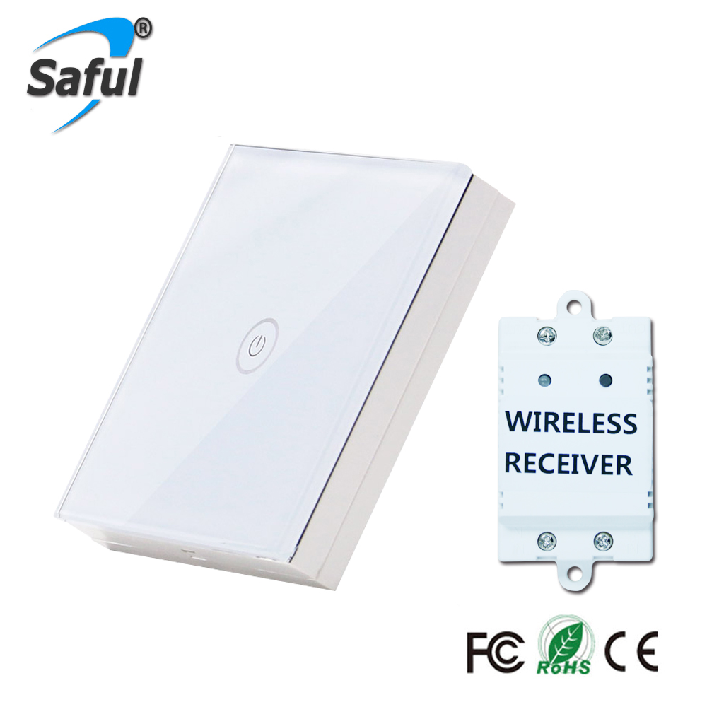 Saful Wall Touch Switch 1 Gang 1 Way Crystal Glass Remote Wireless Switch Touch Screen For Smart Home Light Free Shipping smart home uk standard crystal glass panel wireless remote control 1 gang 1 way wall touch switch screen light switch ac 220v