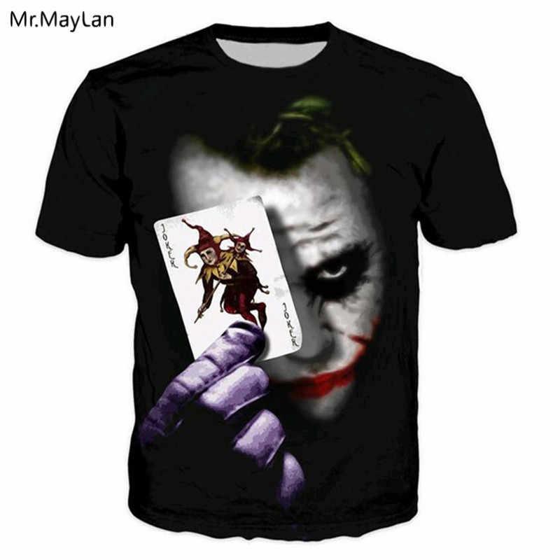 Футболка с 3D-принтом «Джокер» для игры в покер, футболки для мужчин/wo, мужская летняя футболка с круглым вырезом, 2018 модные черные футболки в стиле панк для мальчиков, одежда