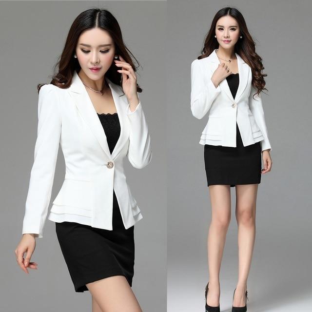 Formal Women Skirt Suits Work Wear Clothes White Blazer
