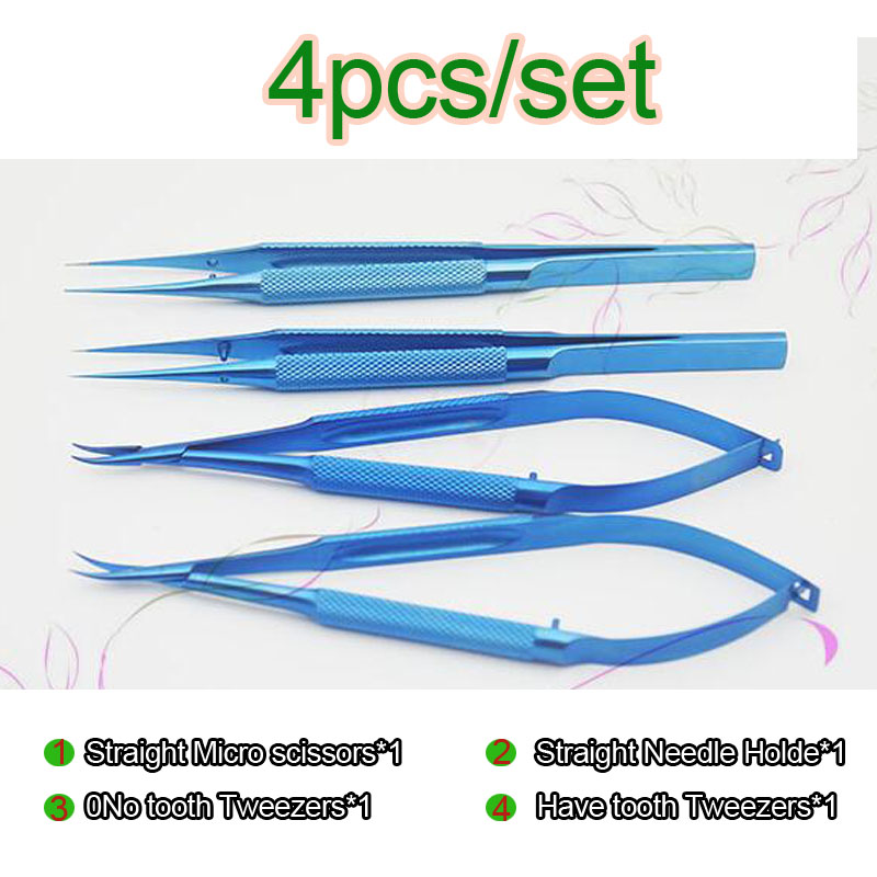 4/5/6/7/8 pz/set 14 cm lega di Titanio oftalmico microsurgical strumenti Porta Aghi Micro forbici Pinzette chirurgia della mano