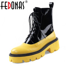 FEDONAS 2020 Autumn Winter Women Genuine Leather Ankle Boots Side Zipper Lace Up Shoes Woman High Heels Women Platforms Shoes
