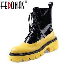 Fedonas 2020 겨울 새로운 패션 암소 특허 가죽 여성 긴 부츠 지퍼 여성 무릎 높은 부츠 하이힐 파티 신발 여성