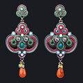 Marca de Colores bolas de Cristal de Lujo de la vendimia Cuelga Los Pendientes Largos Pendientes Del Banquete De boda Grande de La Manera Europea