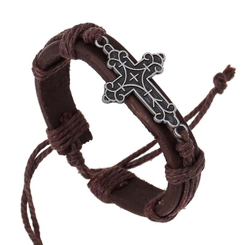 100% Genuine Leather Handmade Brown Color Men Cross Bracelets 17cm Adjustable Women Jesus Jewelry Christmas Gift for Girls
