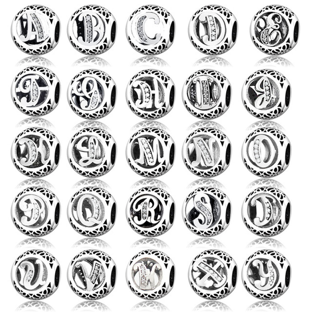 100% 925 Sterling Silver Alphabet Carta A Z Charm Bead Fit