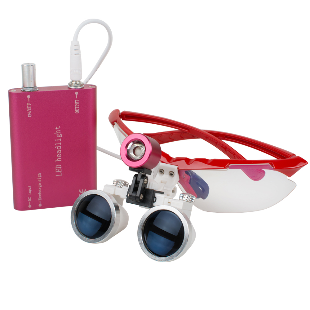Dentist Dental LED Head Light Lamp and Dental Surgical Medical Binocular Loupe 2.5x320mm-3.5x420mm--REDDentist Dental LED Head Light Lamp and Dental Surgical Medical Binocular Loupe 2.5x320mm-3.5x420mm--RED