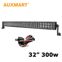 Auxmart 4D LED Bar 32 inch 300W Straight LED Light Bar Fit 4WD Truck Offroad Vehcile Barra Wiring Harness kit