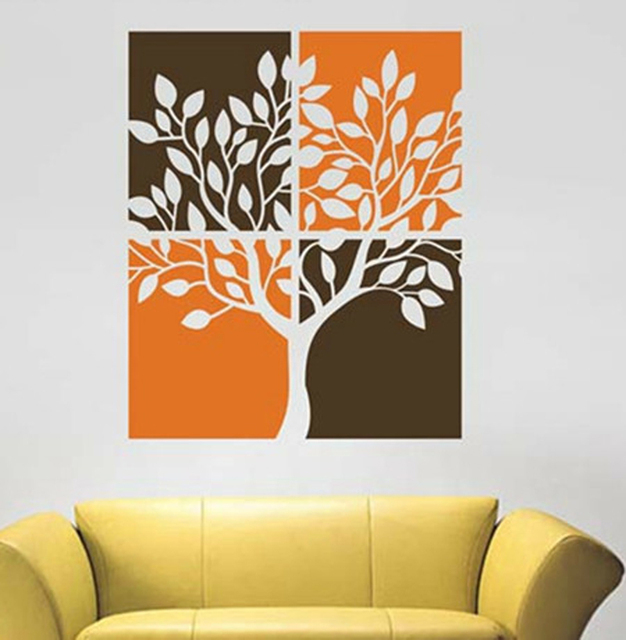 Removable Hand Painted Trees Vinyl Wall Art Sticker Eco Friendly ...