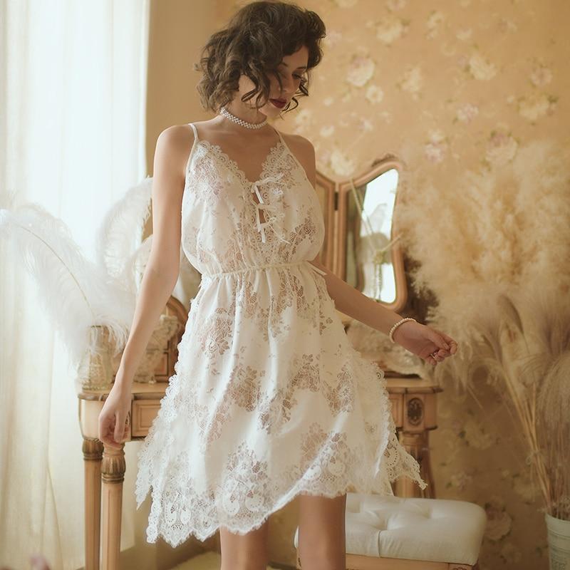 Women Sleepwear Nightgown Sexy Nightwear Lace Crochet Backless Sling Sleeping Dress Lady Nighty Lingerie White Cotton Sleep Wear