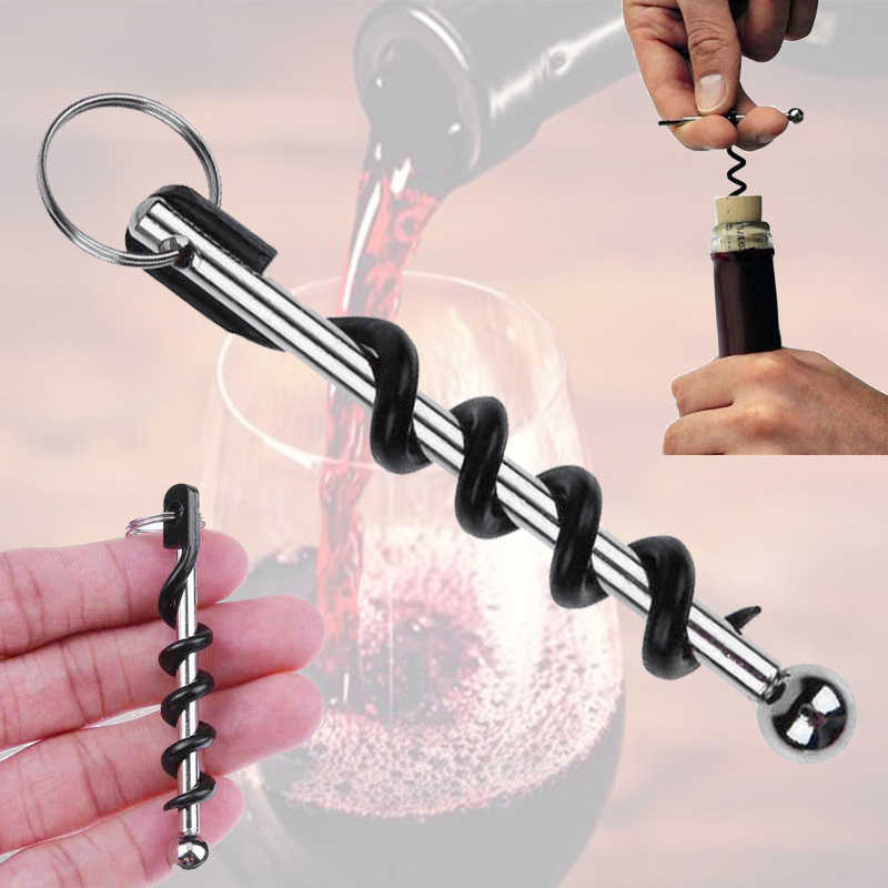 1pc Portable easy Wine Opener mini Stainless Steel Metal Corkscrew Bottle  Corkscrew Double Hinged Outdoor Keychain Wine Opener