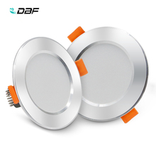 [DBF]Ultra Bright Silver Round LED Downlight 3W 5W 7W 9W 12W Aluminum AC220V Driverless SMD 2835 LED Ceiling Recessed Spot Light