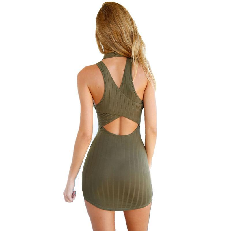 78387bb79bc New Womens Olive Green Stripped Mini Dress Hatler Bodycon Dress Mini Club  Dress Sexy Sleeveless Women Dresses S L-in Dresses from Women s Clothing on  ...