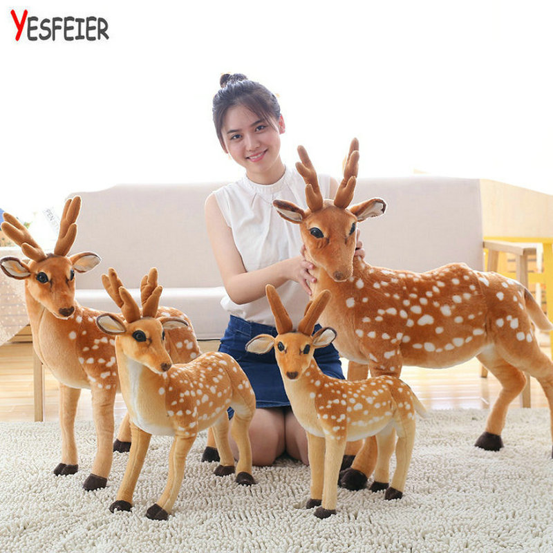 50/60/75/90cm Stuffed Plush Animal Deer Toy Kids Doll Teaching Prop Toy Childrens Birthday Gift Simulation Sika Deer Plush Toy