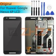 Оригинальный ЖК дигитайзер в сборе для Huawei Nexus 6P, сменный сенсорный экран, ЖК дигитайзер с рамкой 5,7 дюйма, ЖК дисплей Google Nexus 6P